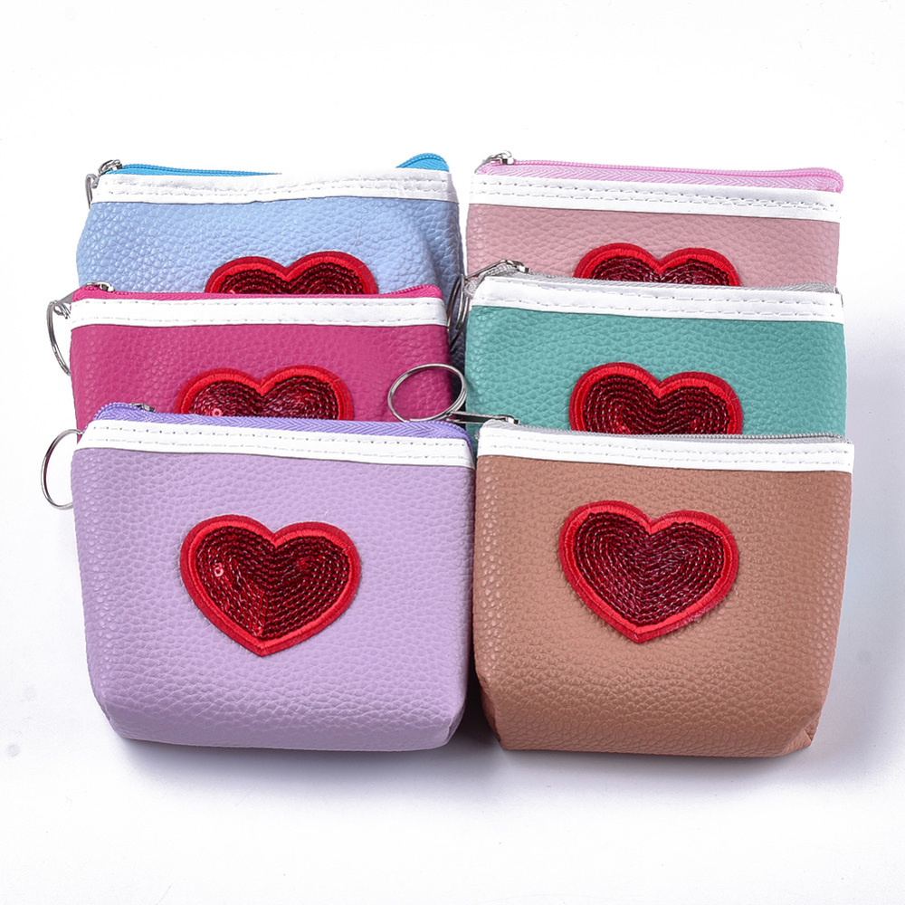 PandaHall PU Leather Clutch Bags, Change Purse, with Paillette and Iron Ring, Heart, Mixed Color, 100~103x110~115x16~22mm Imitation Leather... (ABAG-S005-12B 1762782) photo