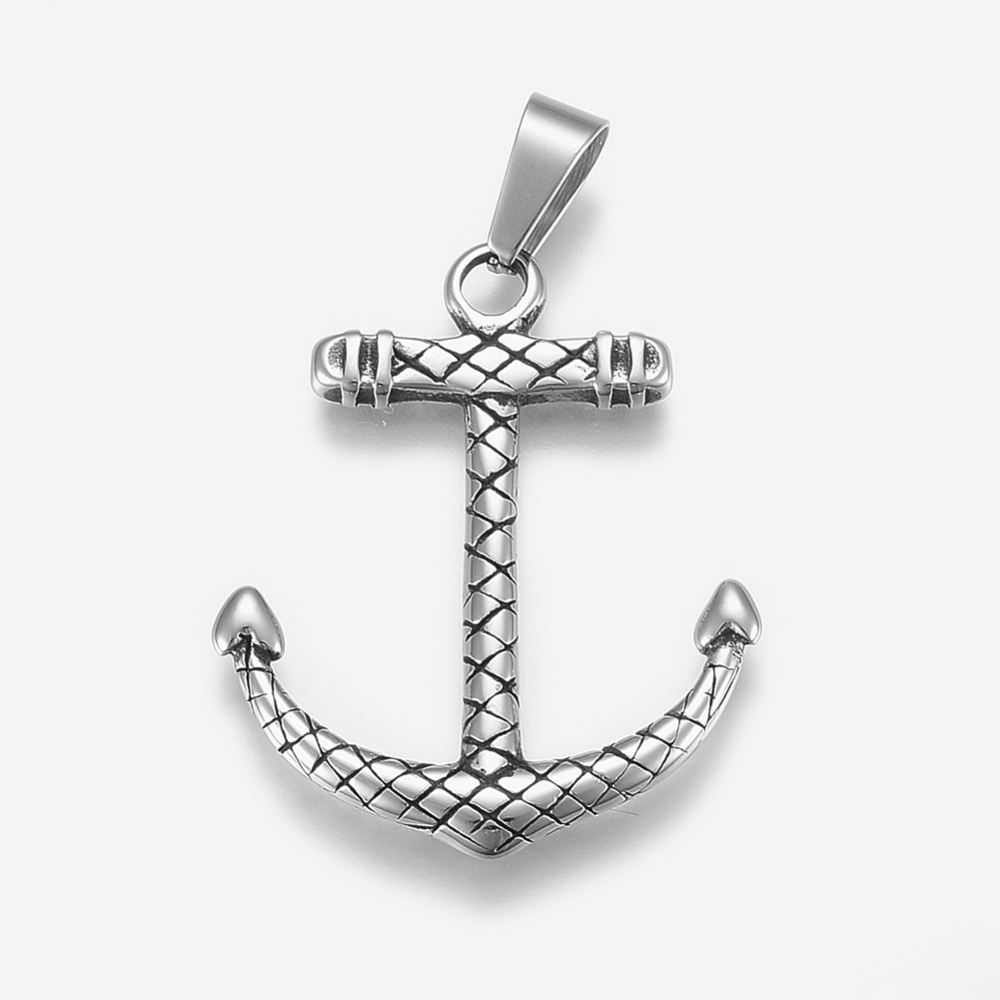 PandaHall_304_Stainless_Steel_Pendants_Anchor_Antique_Silver_39x32x35mm_Hole_5x10mm_Stainless_Steel_Anchor_&_Helm