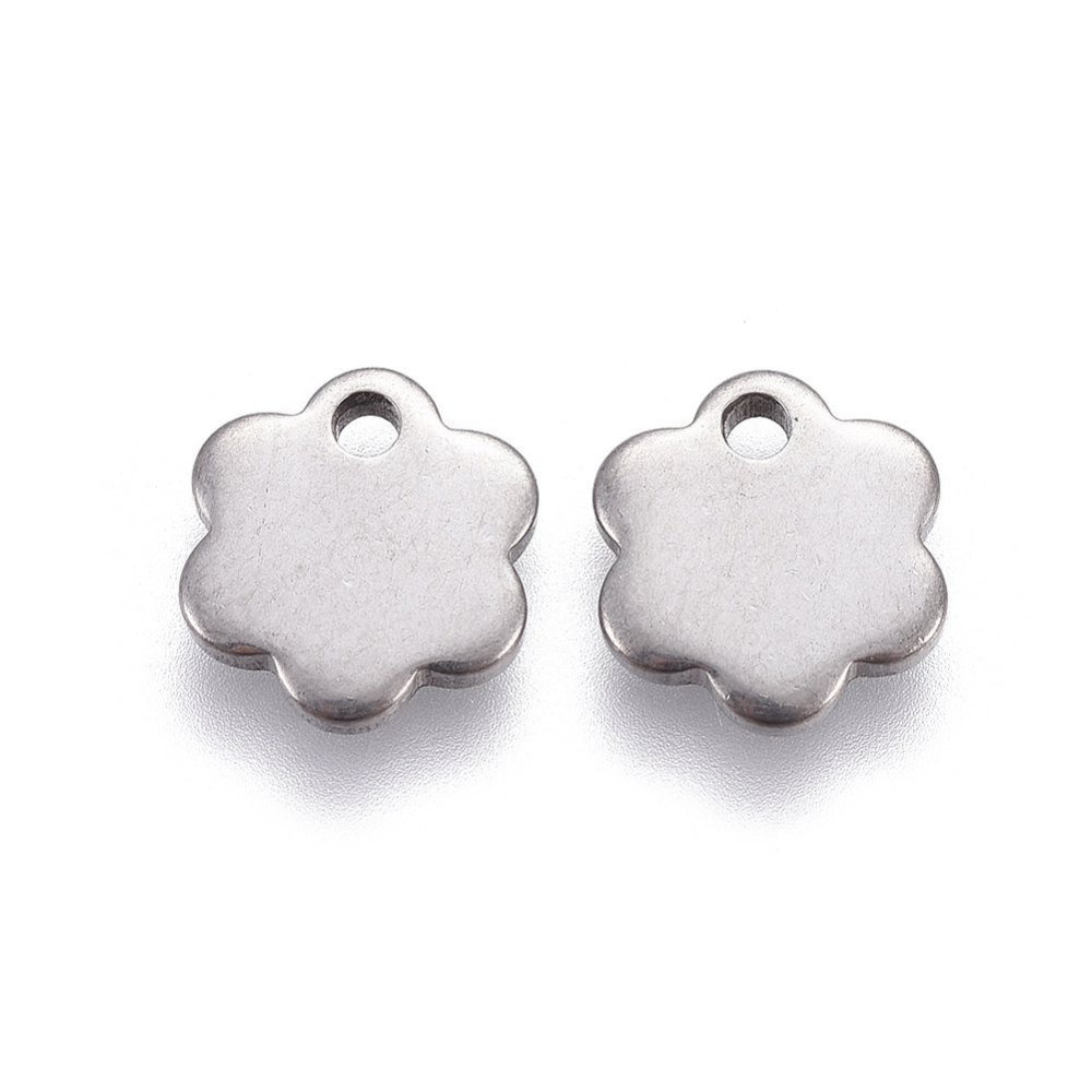 PandaHall_304_Stainless_Steel_Charms_Flower_Stainless_Steel_Color_10x9x15mm_Hole_15mm_Stainless_Steel_Flower
