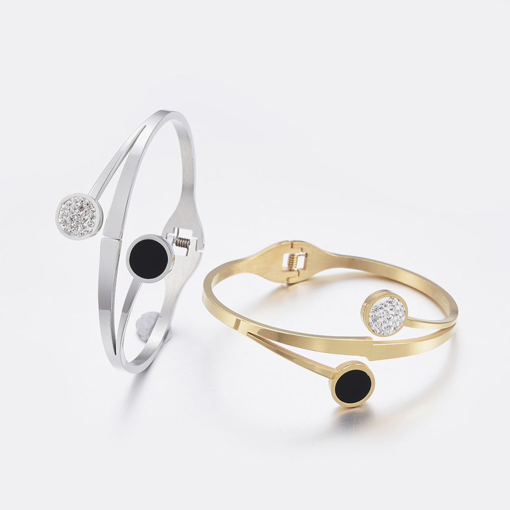 PandaHall_304_Stainless_Steel_Bangles_with_Polymer_Clay_Rhinestone_and_Black_Shell_Flat_Round_Mixed_Color_25cmx2386cm_Stainless