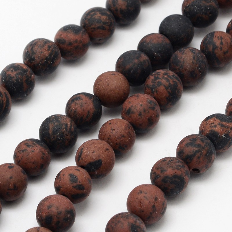 PandaHall Natural Mahogany Obsidian Beads Strands, Frosted, Round, 10mm, Hole: 1mm; about 38pcs/strand, 14.9