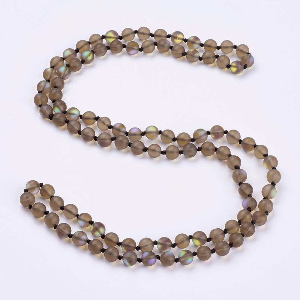 "PandaHall_Synthetic_Moonstone_Beaded_Multi-use_Necklaces_Wrap_Bracelets,_Three-Four_Loops_Bracelets,_Round,_Camel,_36.2""(92cm)_Moonstone..."