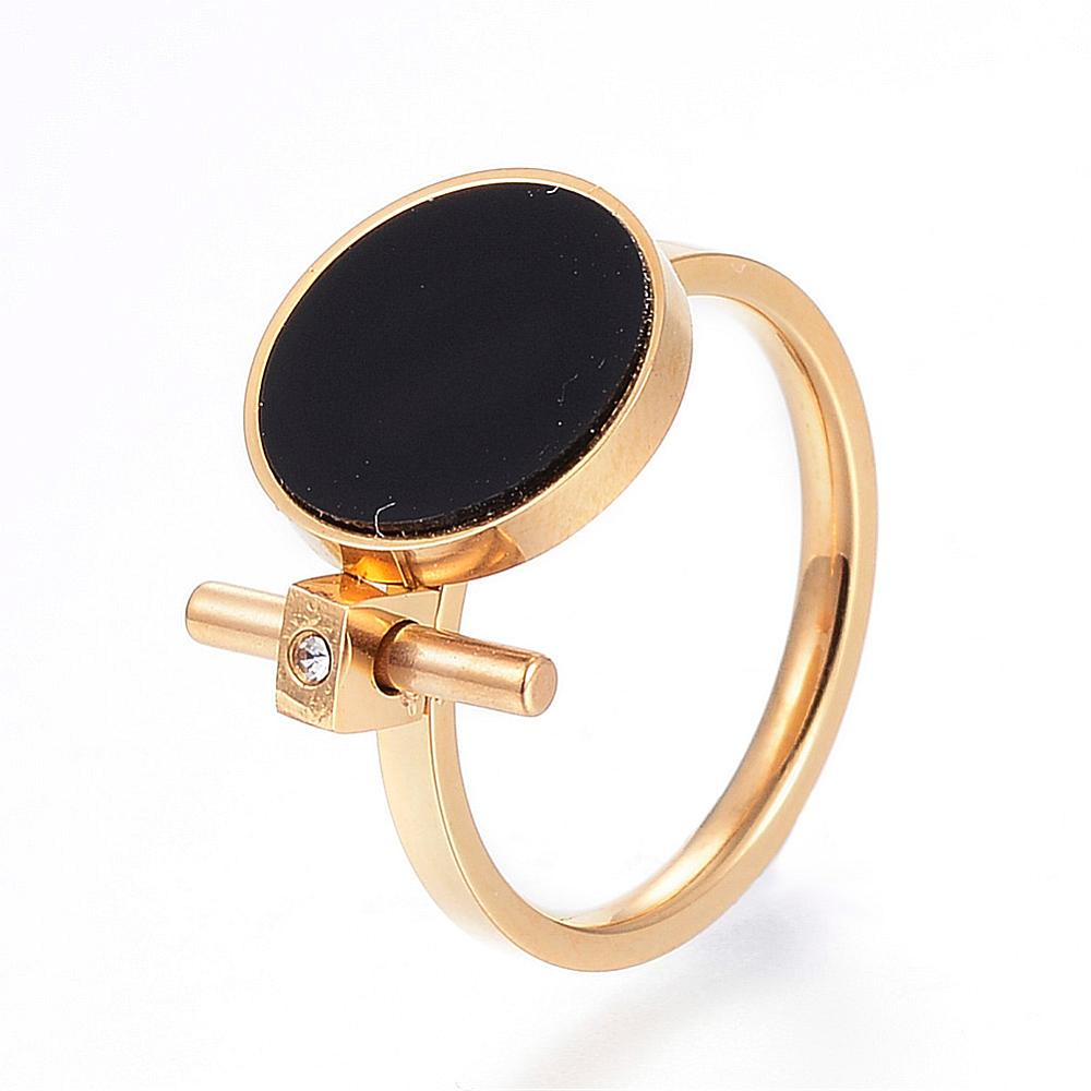 PandaHall_304_Stainless_Steel_Finger_Rings_with_Rhinestone_and_Resin_Flat_Round_Golden_Size_7_17mm_Stainless_SteelResin_Black