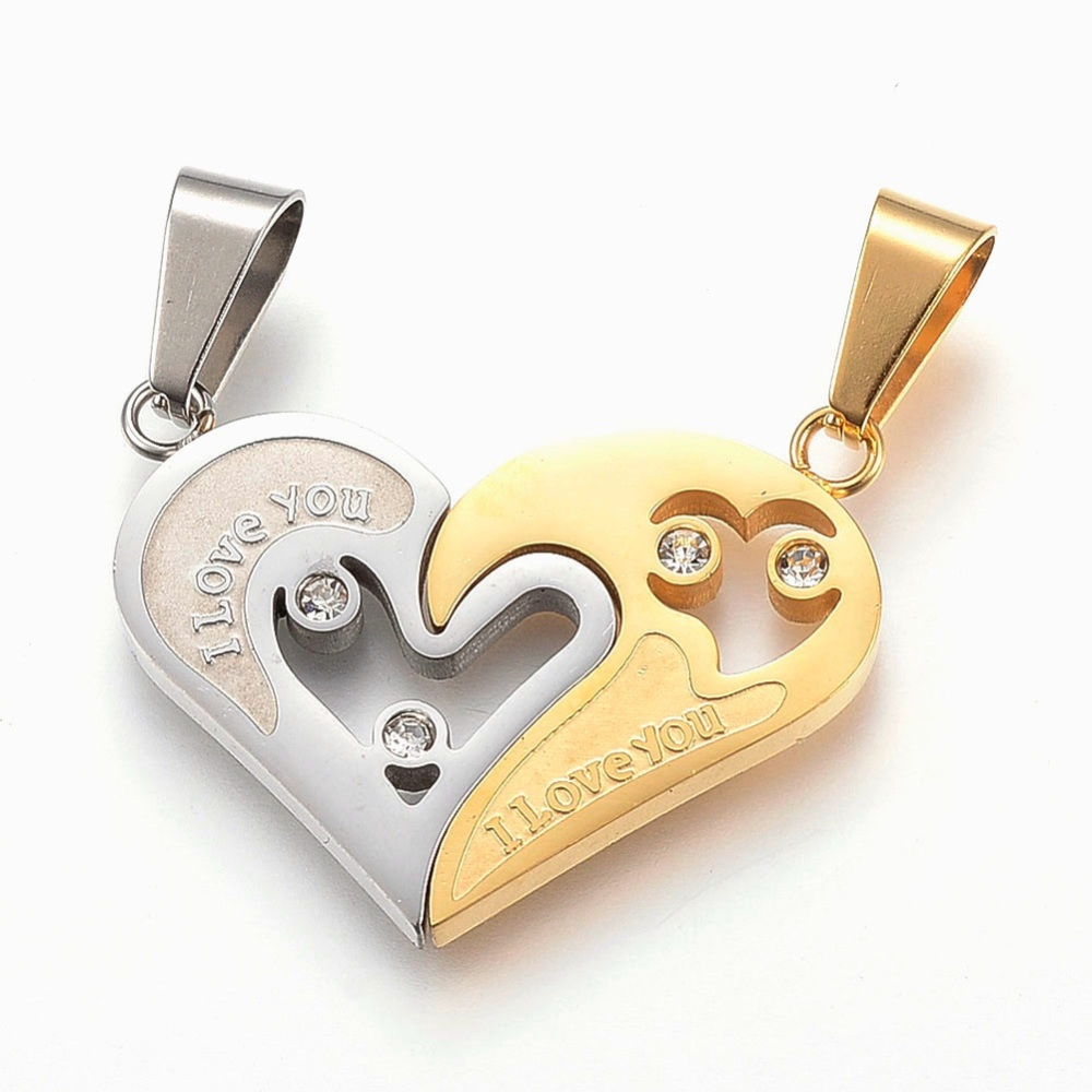 PandaHall_304_Stainless_Steel_Rhinestone_Split_Pendants_Heart_with_Word_I_Love_You_Golden_&_Stainless_Steel_Color_23x30x2mm_Hole_5x10mm