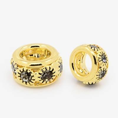 PandaHall Brass Rhinestone European Beads, Large Hole Beads, Grade A, Rondel..
