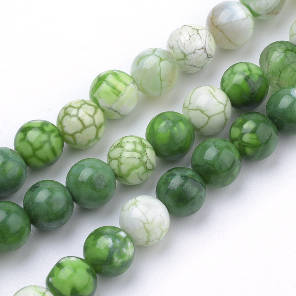 PandaHall Natural Weathered Agate Beads Strands, Dyed, Round, Green, 8mm, Hole: 1mm; about 50pcs/strand, 15.7