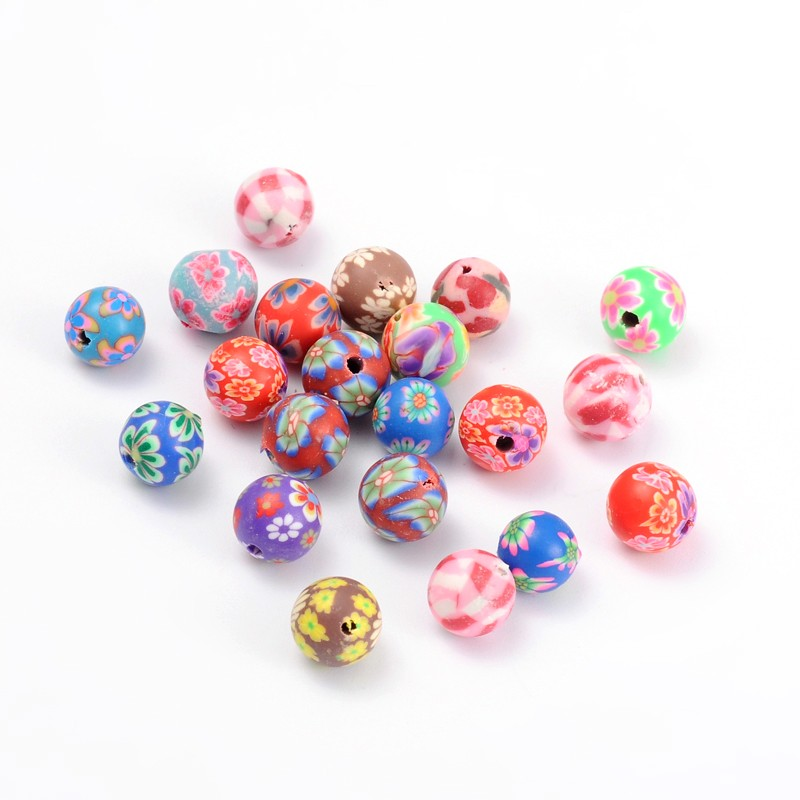 PandaHall_Handmade_Polymer_Clay_Beads_Round_Mixed_Color_about_8mm_in_diameter_hole_1mm_Polymer_Clay_Round_Multicolor