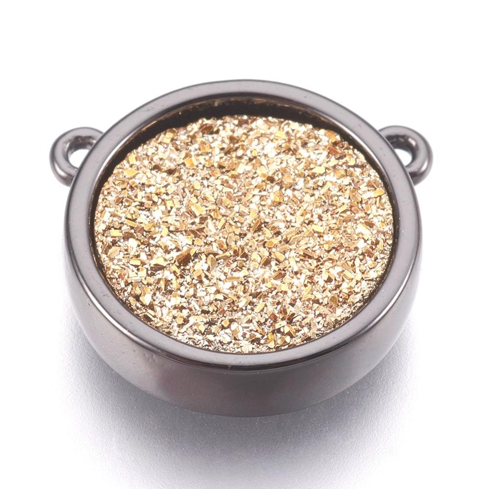 PandaHall_Brass_Charms_with_Druzy_Resin_Cabochon_Flat_Round_Gunmetal_Goldenrod_145x155x4mm_Hole_12mm_Brass_Flat_Round_Gold