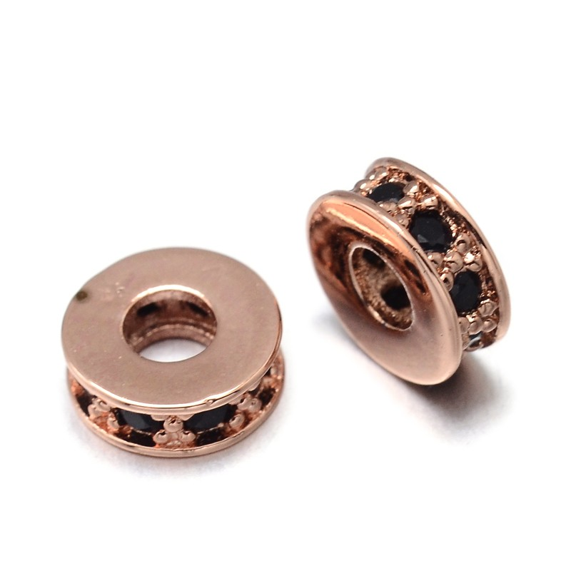 PandaHall_Flat_Round_Environmental_Brass_Micro_Pave_Cubic_Zirconia_Spacer_Beads_Lead_Free_&_Nickel_Free_&_Cadmium_Free_Real_Rose_Gold