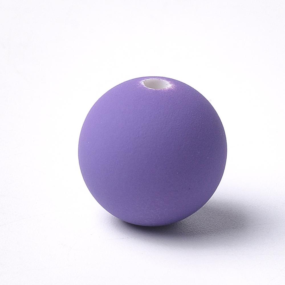 PandaHall_Acrylic_Beads_Rubberized_Round_BlueViolet_14x135mm_Hole_25mm_Acrylic_Round_Purple