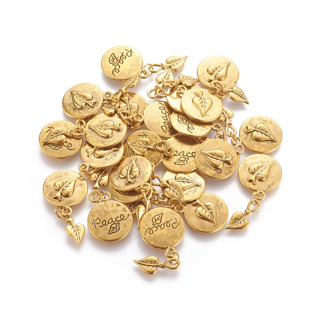 PandaHall_Tibetan_Style_Alloy_Pendants_Leaf_and_Flat_Round_with_Word_Peace_Cadmium_Free_&_Nickel_Free_&_Lead_Free_Antique_Golden