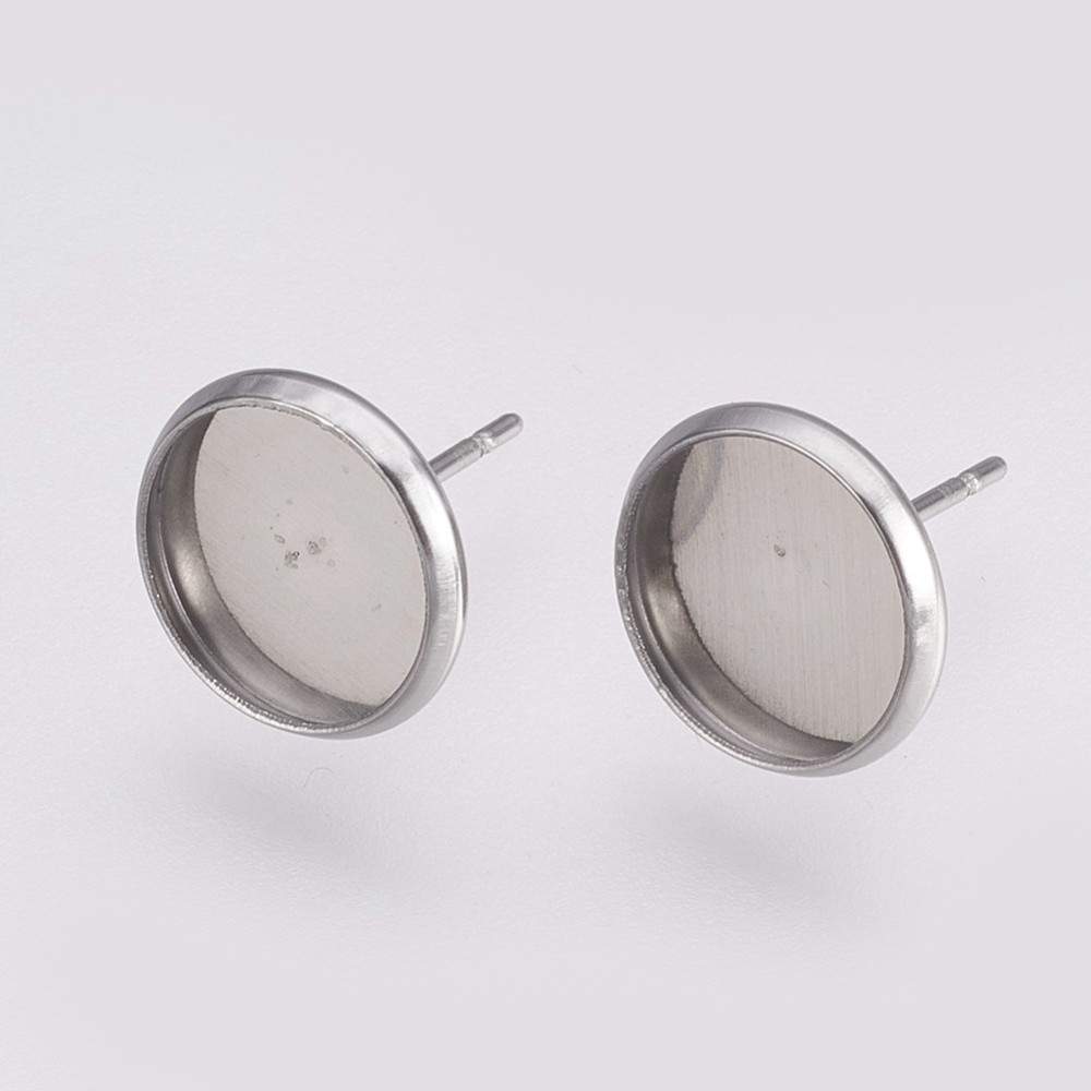 PandaHall_304_Stainless_Steel_Stud_Earring_Settings_Flat_Round_Stainless_Steel_Color_Tray_10mm_12x2mm_Pin_08mm_Stainless_Steel