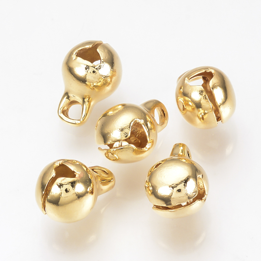 PandaHall_Brass_Bell_Charms_Real_Gold_Plated_Round_13x10x10mm_Hole_2mm_Brass_Round
