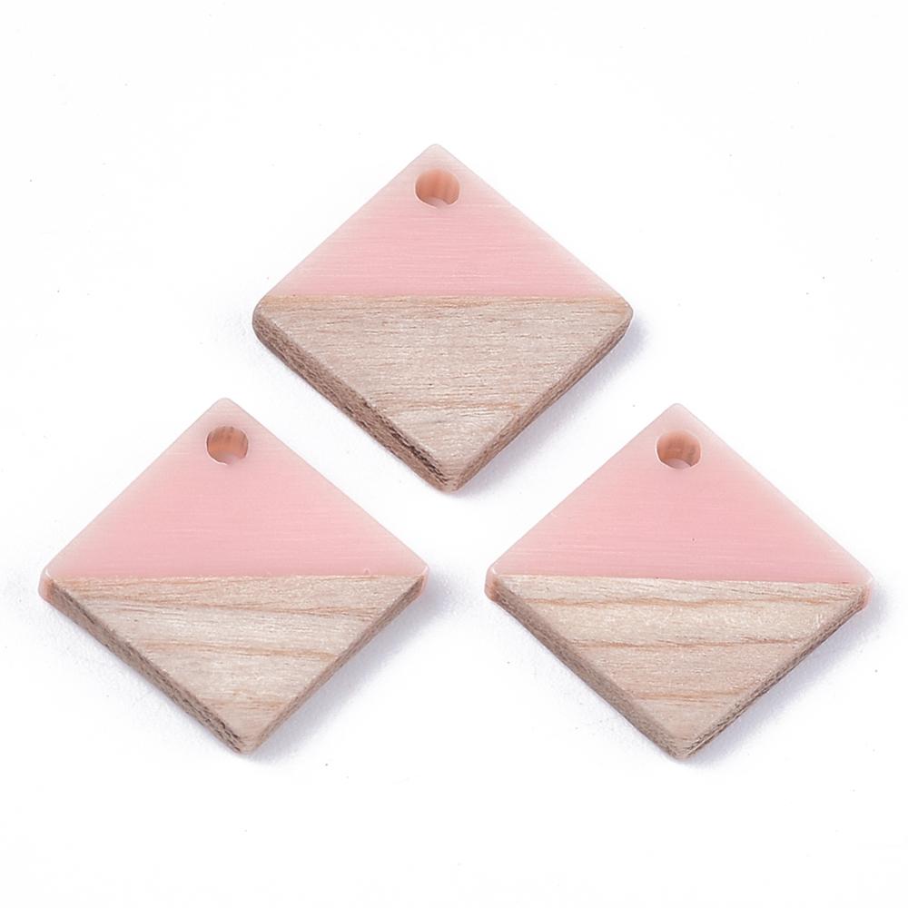 PandaHall_Resin_&_Wood_Pendants_Rhombus_Pink_165~175x17~18x3~4mm_Hole_18mm_Side_Length_12~13mm_Resin_Rhombus_Pink