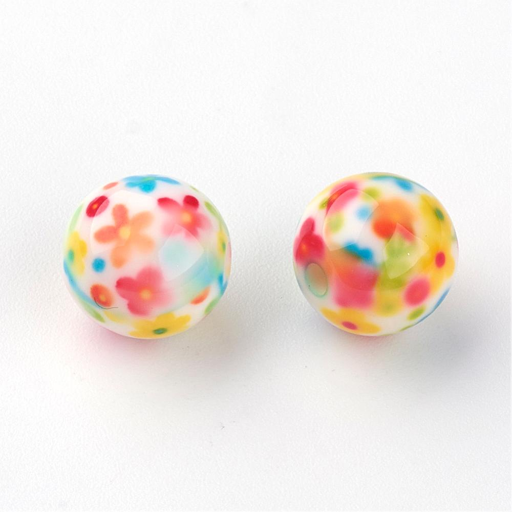 PandaHall_Resin_Beads_Round_with_Flower_Pattern_Colorful_10mm_Hole_2mm_Resin_Round