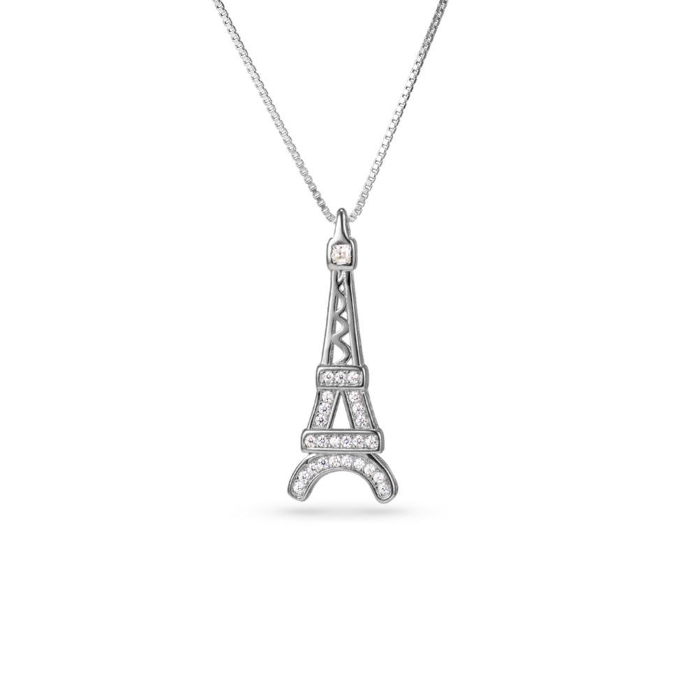 PandaHall_TINYSAND&reg_Sterling_Silver_Eiffel_Tower_CZ_Rhinestone_Pendant_Necklaces_Silver_19_Cubic_Zirconia_Silver