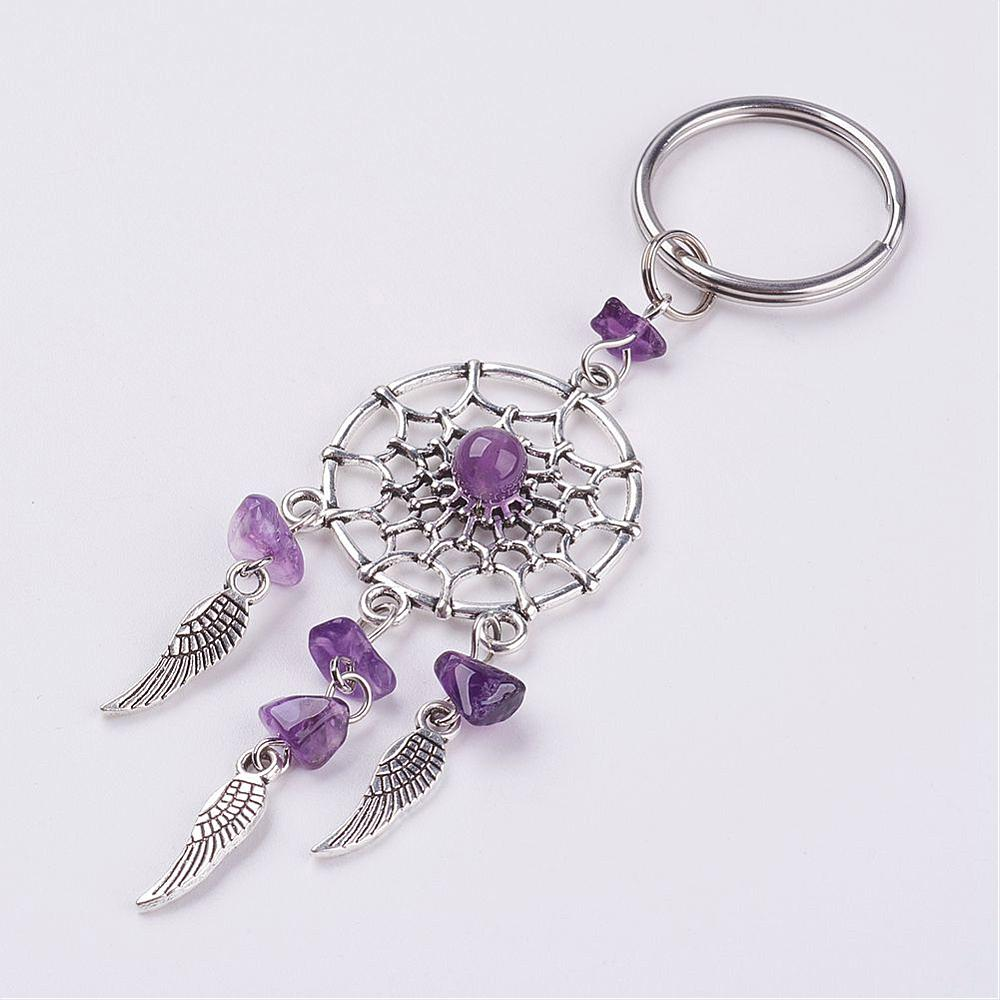 PandaHall Natural Chip Amethyst Key Chain, with Tibetan Style Pendants and 3..