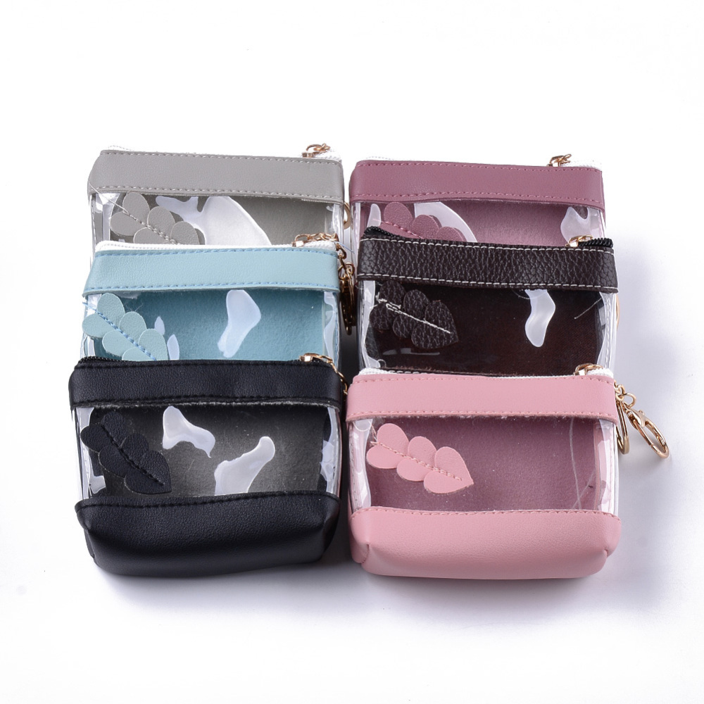 PandaHall PU Leather & Plastic Clutch Bags, Change Purse, with Iron Ring and Lobster Clasp, Mixed Color, 87~90x118~122x45~47mm Imitation... (ABAG-S005-15 1762780) photo