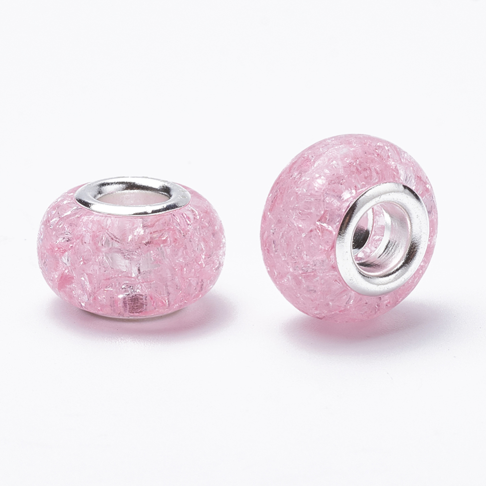 PandaHall_Crackle_Resin_European_Beads_Large_Hole_Beads_with_Silver_Plated_Brass_Cores_Rondelle_PearlPink_135~14x85~9mm_Hole_5mm