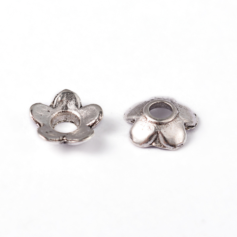 PandaHall_Tibetan_Silver_Bead_Caps_Lead_Free_&_Cadmium_Free_Flower_Antique_Silver_about_65mm_long_65mm_wide_2mm_thick_hole_2mm