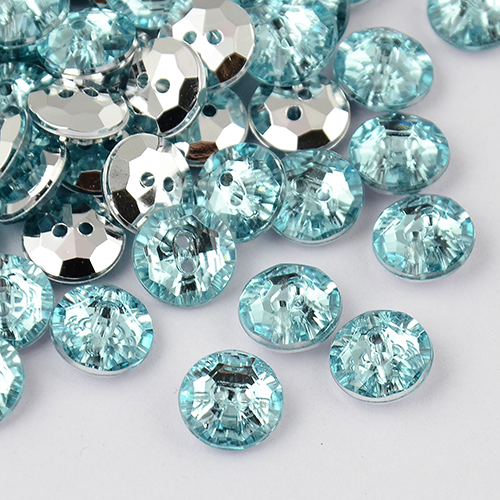 PandaHall_2Hole_Taiwan_Acrylic_Rhinestone_Flat_Round_Buttons_Faceted_&_Silver_Plated_Pointed_Back_PaleTurquoise_10x4mm_Hole_1mm