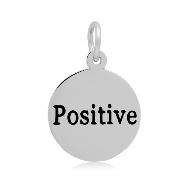 PandaHall 316 Stainless Steel Enamel Pendants, Flat Round with Word Positive..