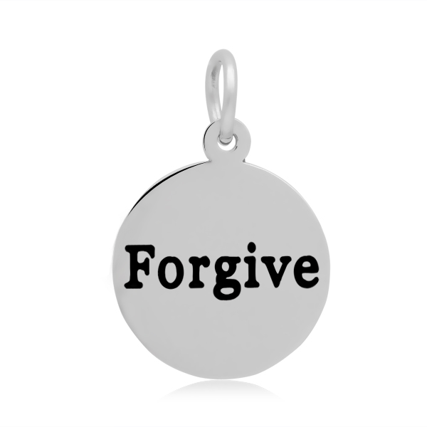 PandaHall 316 Stainless Steel Enamel Pendants, Flat Round with Word Forgive,..