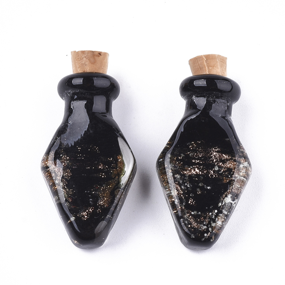 PandaHall_Luminous_Handmade_Gold_Sand_Lampwork_Pendants_with_Wood_Stopper_Perfume_Bottle_Black_315~32x175~18x9~95mm_Hole_45mm