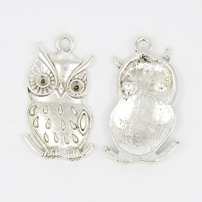 PandaHall Owl Alloy Pendant Cabochon Enamel Settings, Lead Free and Cadmium ..