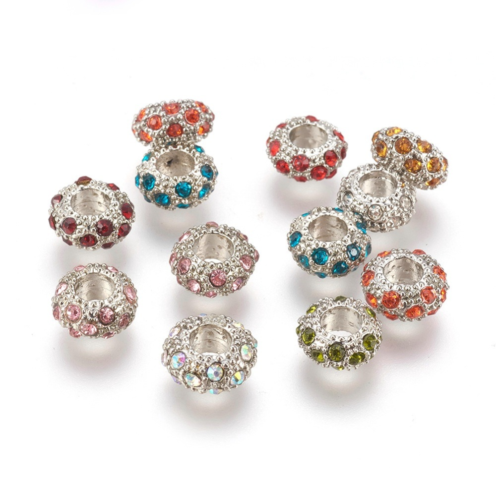 PandaHall_Alloy_Rhinestone_European_Beads_Large_Hole_Beads_Rondelle_Platinum_Metal_Color_Mixed_Color_11x6mm_Hole_5mm_Rondelle