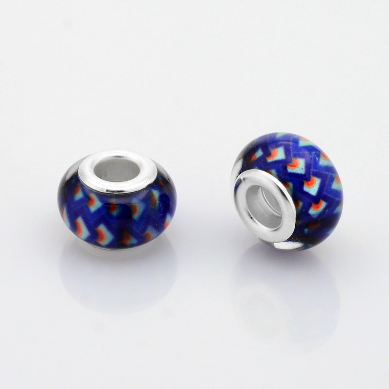 PandaHall_Resin_European_Beads_Large_Hole_Rondelle_Beads_with_Silver_Tone_Brass_Cores_Colorful_14x9mm_Hole_5mm_ResinBrass_Core
