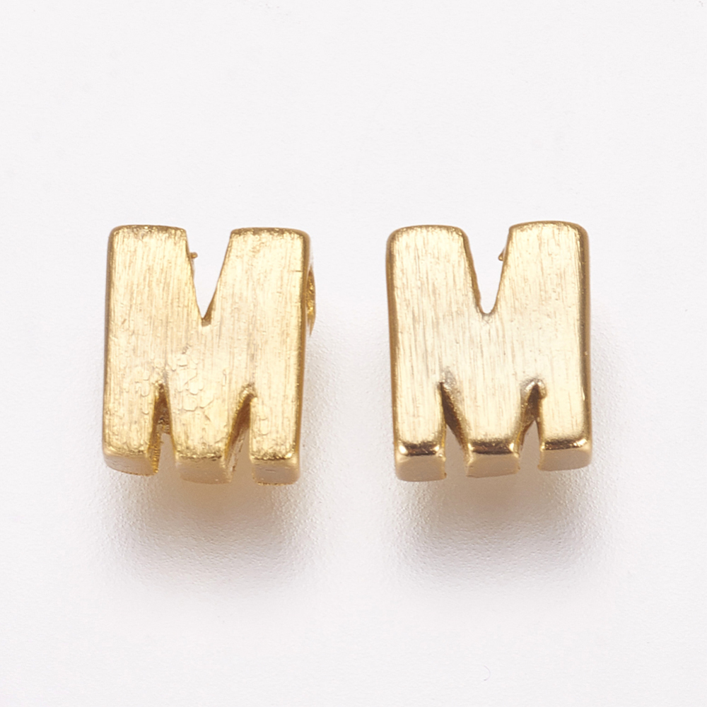 PandaHall_Brass_Charms_LetterM_5x4x2mm_Hole_1mm_Brass_Alphabet