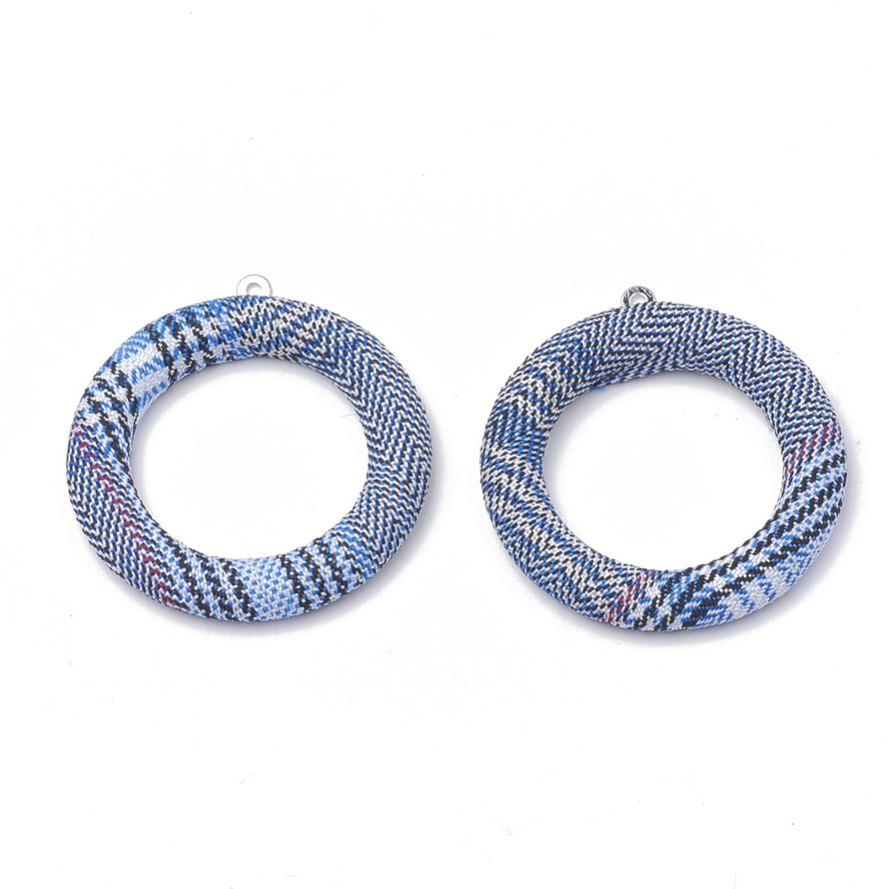 PandaHall_Cloth_Fabric_Covered_Pendants_with_Aluminum_Bottom_Ring_Platinum_DodgerBlue_40x36x4mm_Hole_1mm_Cloth_Ring_Blue