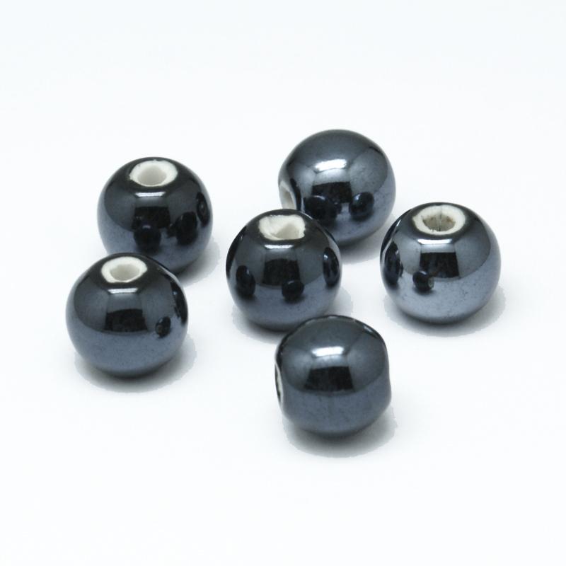 PandaHall_Handmade_Porcelain_Beads_Pearlized_Round_Black_12mm_Hole_2~3mm_Porcelain_Round_Black
