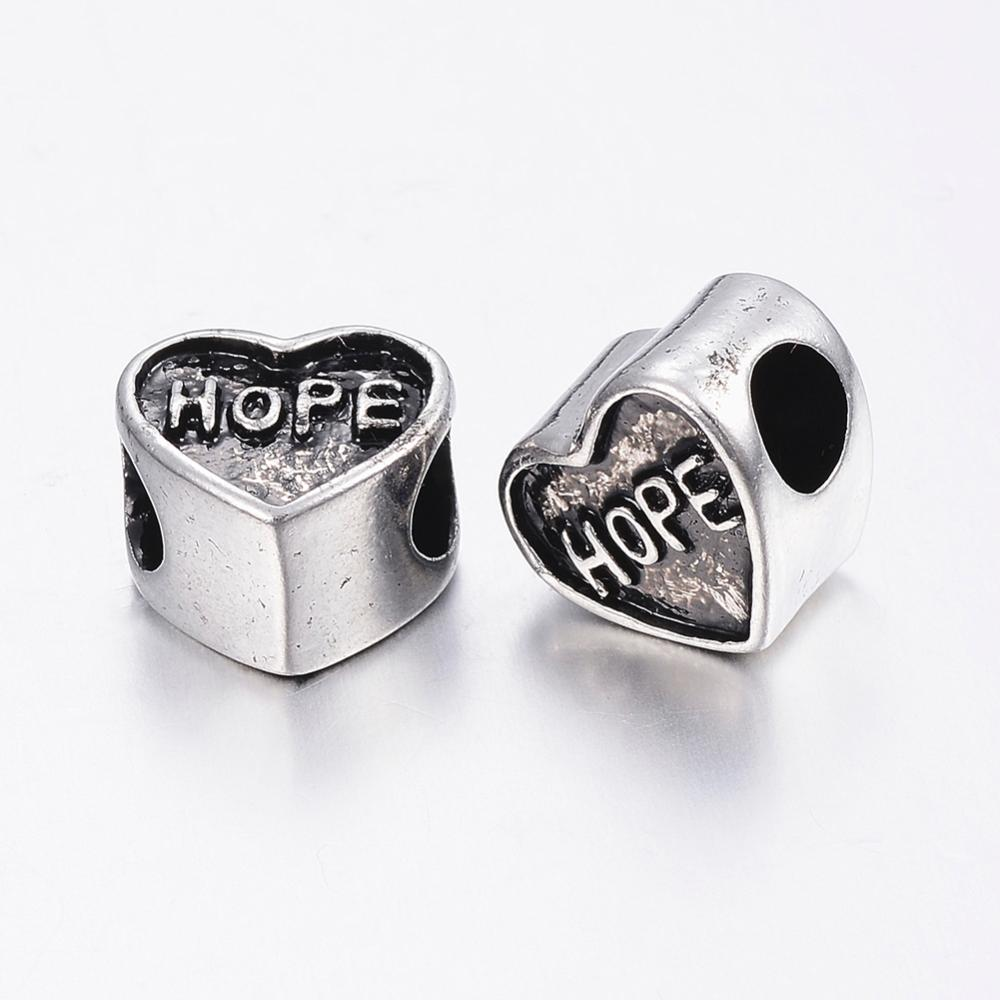 PandaHall_304_Stainless_Steel_European_Beads_Large_Hole_Beads_Heart_with_Word_Hope_Antique_Silver_105x115x8mm_Hole_5mm_Stainless