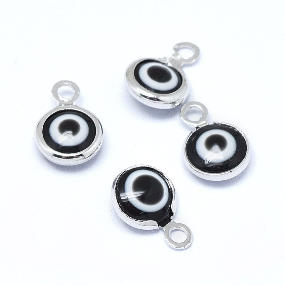 PandaHall_Handmade_Evil_Eye_Lampwork_Charms_with_Brass_Findings_Flat_Round_Black_Real_Platinum_Plated_10x65x3mm_Hole_15mm