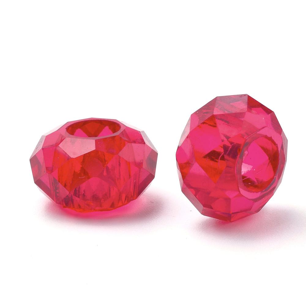 PandaHall_Acrylic_Beads_Large_Hole_Beads_Faceted_Rondelle_Crimson_13~14x8~85mm_Hole_55mm_Acrylic_Rondelle_Pink