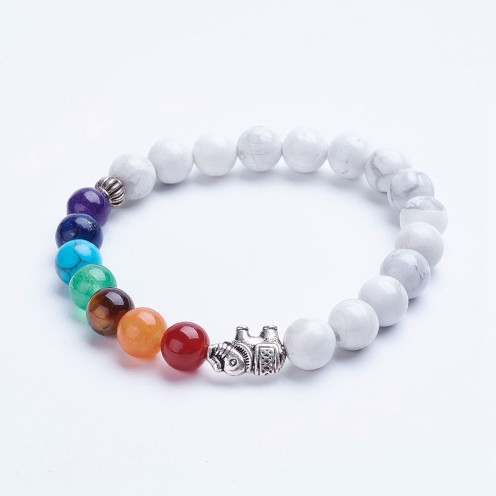 PandaHall_Natural_Howlite_Beaded_Stretch_Bracelets_with_Alloy_Spacer_Beads_Elephant_Antique_Silver_13445mm_Howlite