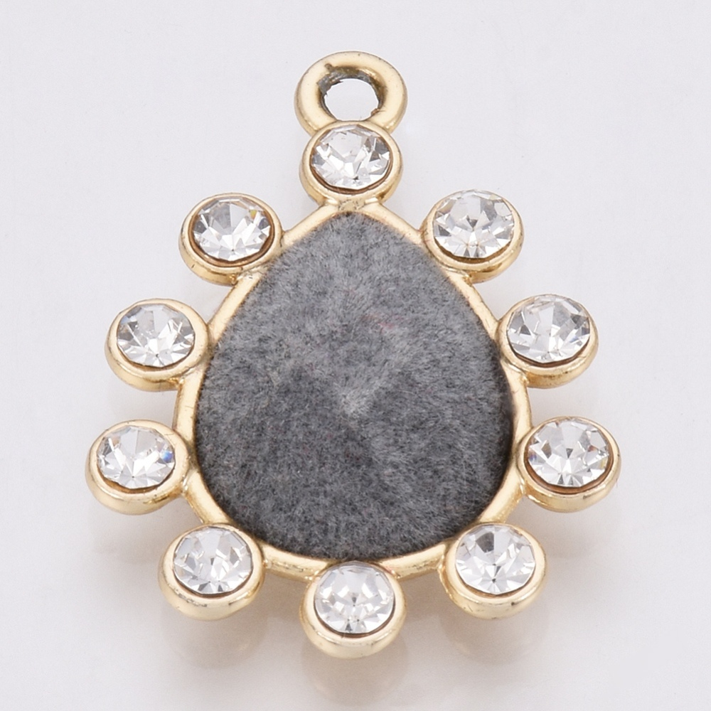 PandaHall_Alloy_Rhinestone_Pendants_with_Velvet_Drop_Golden_Gray_285x21x6mm_Hole_2mm_AlloyOther_Material_Drop_Gray