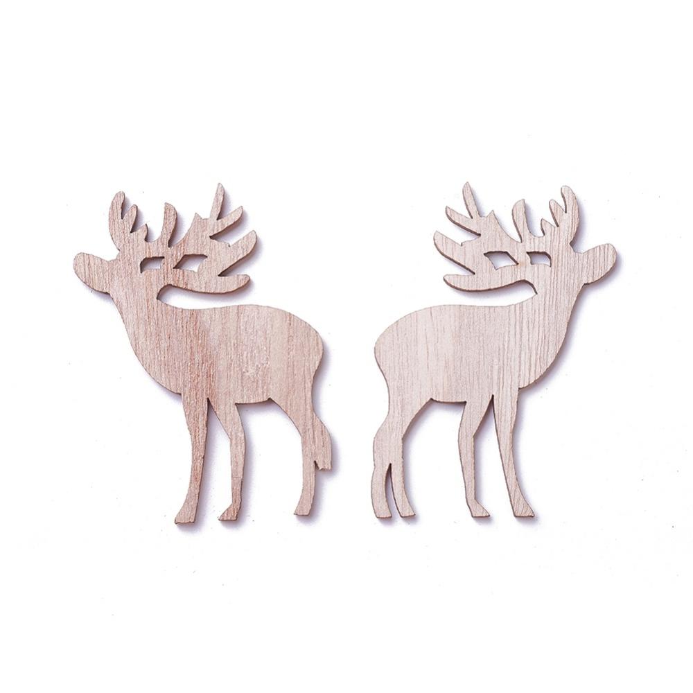 PandaHall_Undyed_Wood_Pendants_Christmas_ReindeerStag_BurlyWood_77x57x3mm_Hole_4x2~3mm_Wood_Deer_Orange
