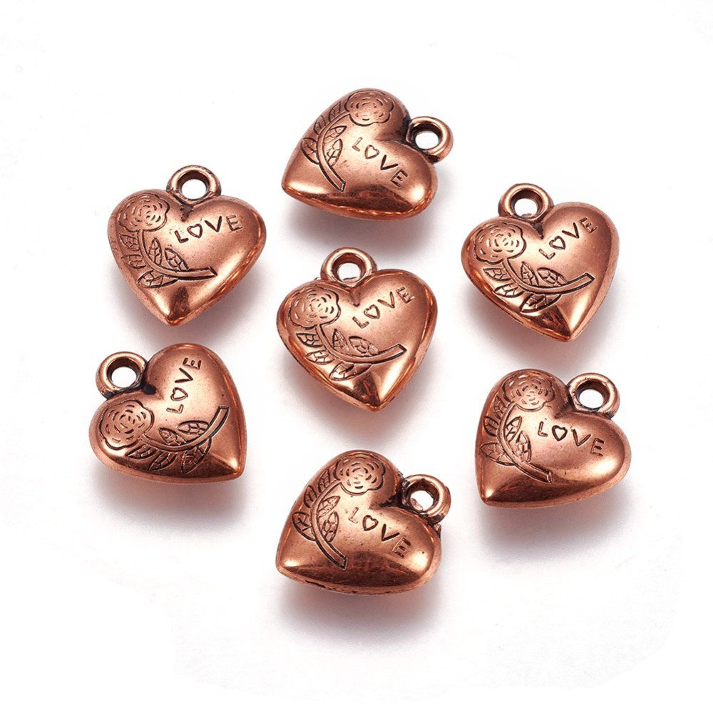 PandaHall_CCB_Plastic_Pendants_Heart_with_Flower_and_Word_Love_Red_Copper_21x185x75mm_Hole_3mm_Plastic_Heart