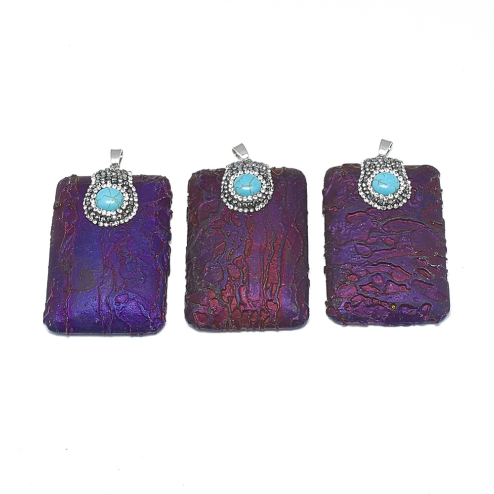 PandaHall_Electroplated_Natural_Ore_Big_Pendants_with_Rhinestone_Turquoise_and_Brass_Findings_Rectangle_Platinum_Indigo