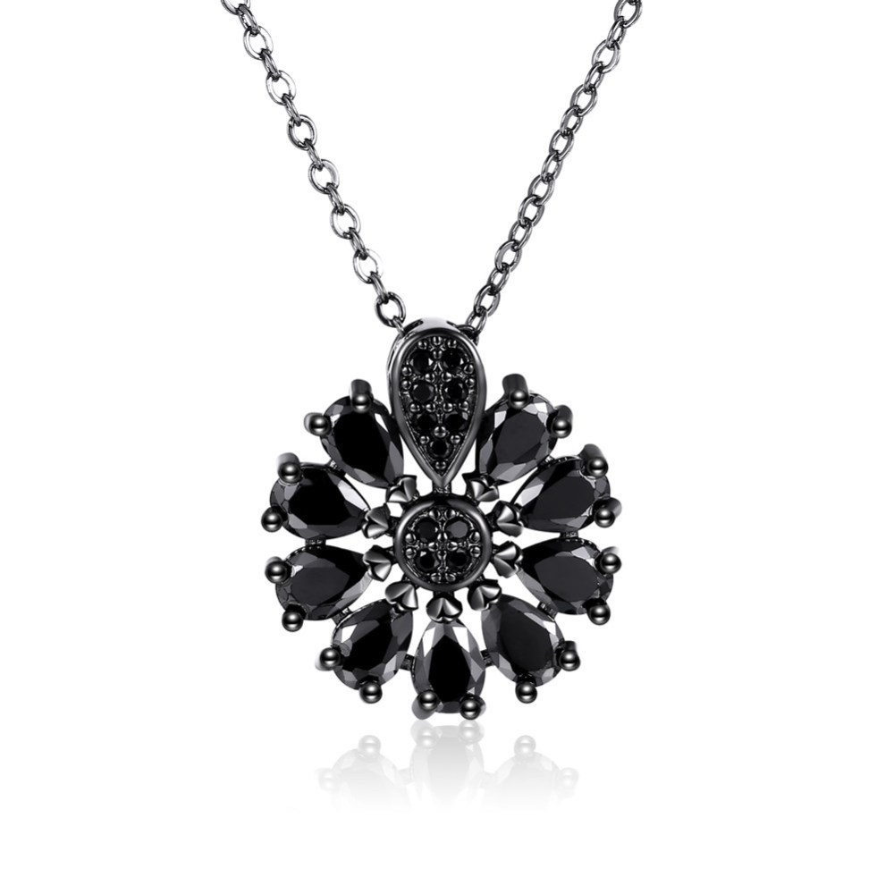 PandaHall_Trendy_Brass_Pendant_Necklaces_with_Cubic_Zirconia_Flower_Black_Gunmetal_17745cm_Cubic_Zirconia_Black