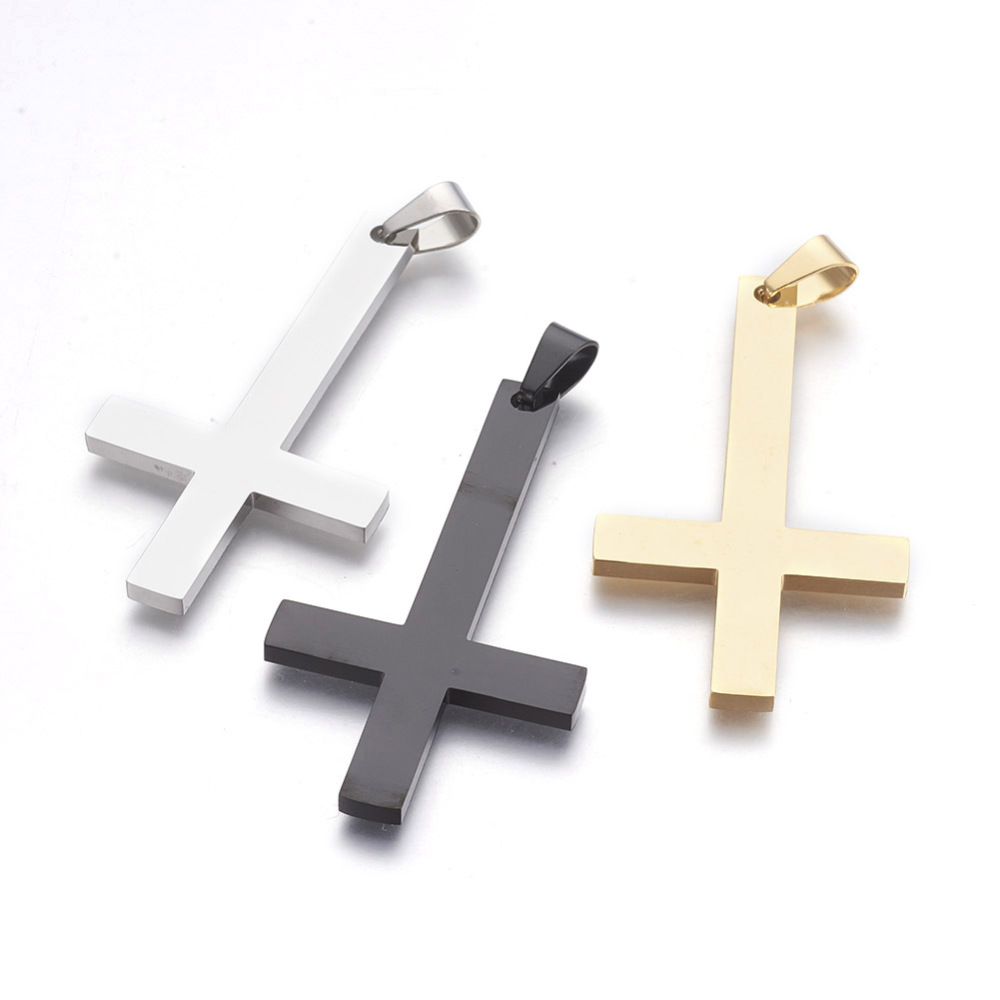 PandaHall_304_Stainless_Steel_Big_Pendants_Inverted_Cross_Mixed_Color_55x30x25mm_Hole_45x75mm_Stainless_Steel_Cross_Multicolor