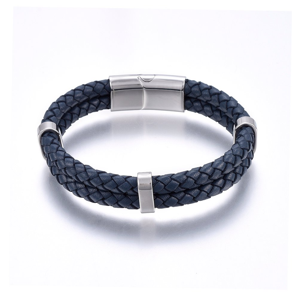 PandaHall_Leather_Cord_Bracelets_with_304_Stainless_Steel_Magnetic_Clasp_Rectangle_Stainless_Steel_Color_85822cm_12~15x6~85mm