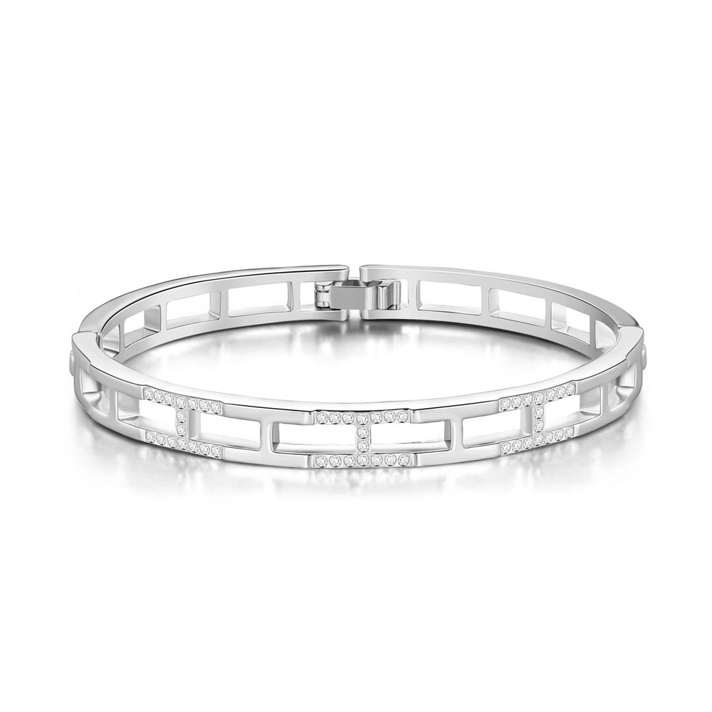 PandaHall SHEGRACE® Alloy Bangle, with AAA Cubic Zirconia, Hollow Rectangle, Platinum, 56x7mm(2-1/8x1/4) Cubic Zirconia Clear