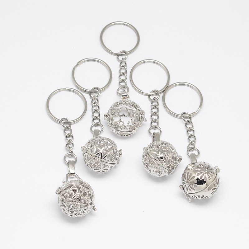 PandaHall Mixed Styles Brass Hollow Ball Cage Pendant Key Chains, with Steel..