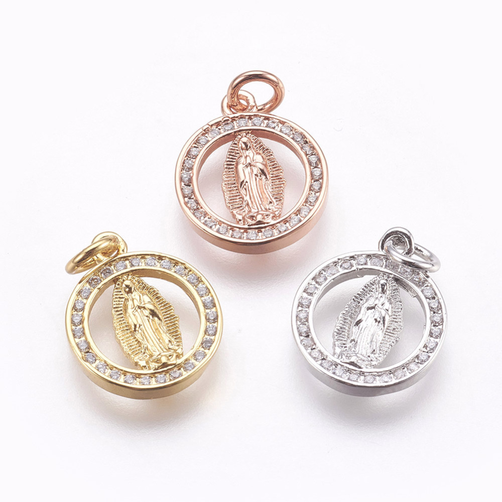 PandaHall_Brass_Micro_Pave_Cubic_Zirconia_Pendants_Lead_Free_&_Cadmium_Free_Flat_Round_with_Virgin_Mary_Mixed_Color_155x13x2mm_Hole