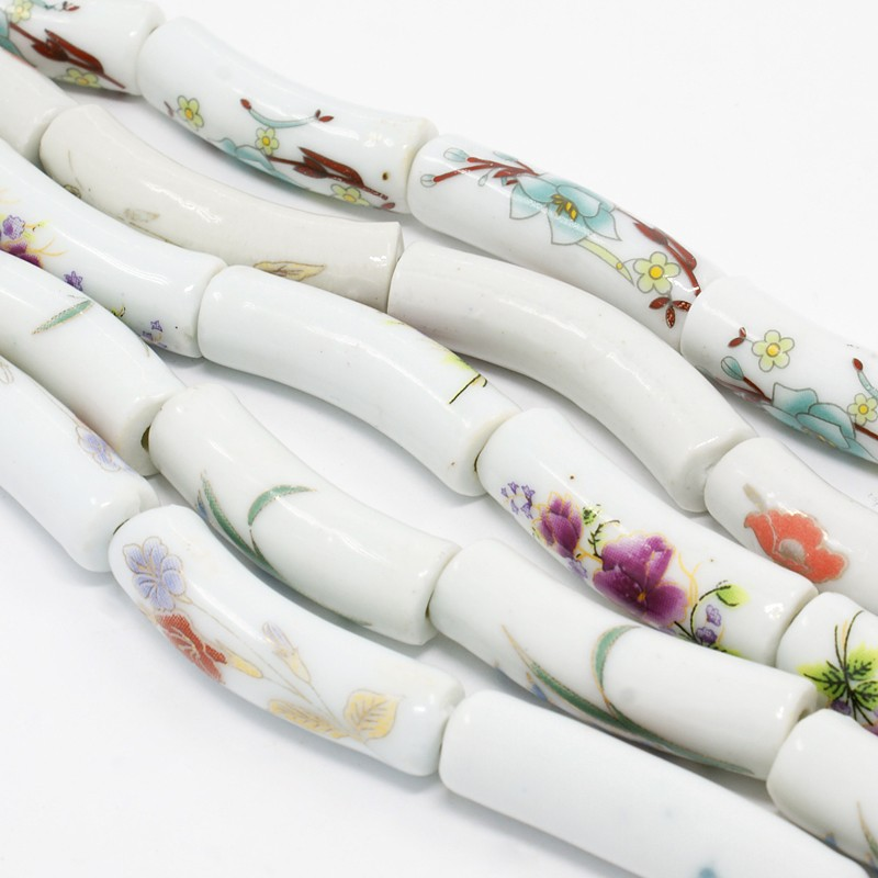 PandaHall_Handmade_Flower_Printed_Porcelain_Ceramic_Curved_Tube_Beads_Strands_Mixed_Color_32~40x9~10mm_Hole_4mm_about_10pcsstrand