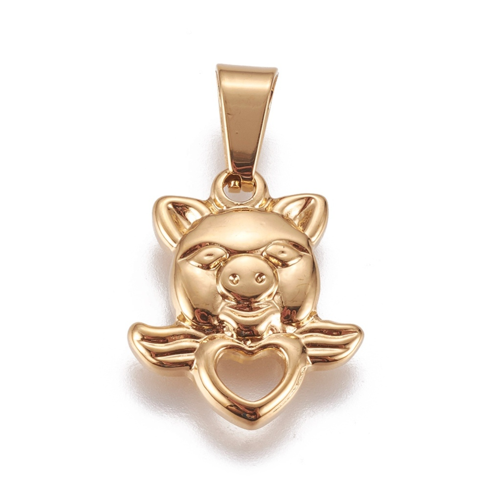 PandaHall_304_Stainless_Steel_Pendants_Pig_with_Heart_Wing_Golden_175x15x3mm_Hole_7x35mm_Stainless_Steel_Pig